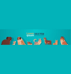 group purebred dogs furry human friends home vector image