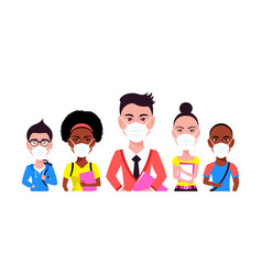 Group young people wearing face mask vector