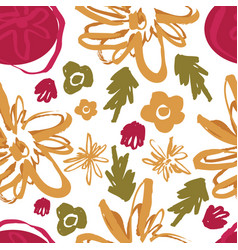 hand drawing colored floral seamless pattern vector image