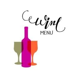Hand lettering Wine menu emblem vector image