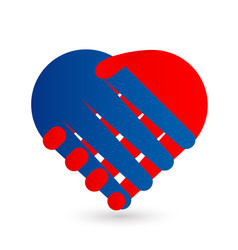 handshake agreement as a heart symbol vector image