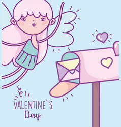 happy valentines day cute cupid mail box envelope vector image