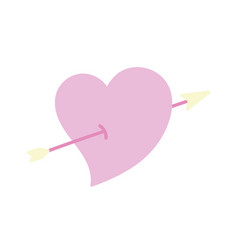 Happy valentines day cute heart pierced arrow vector