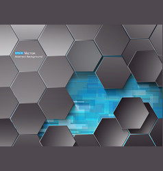 Hexagons and blue rectangles vector