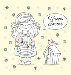 Holiday cots easter holiday girl vector