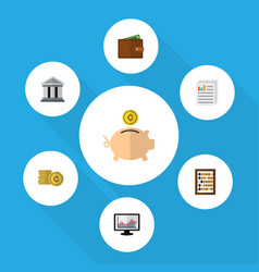 icon flat finance set of building wallet coin vector image