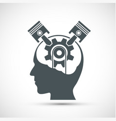 Icon human head with gear and pistons inside vector