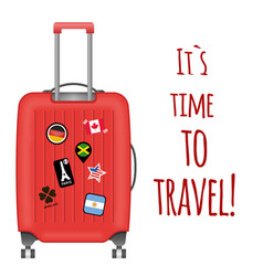 its time to travel red baggage background i vector image