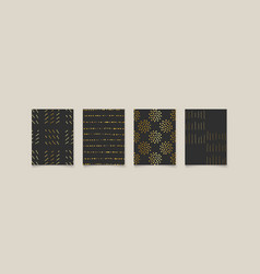 Luxury premium set with four gold abstract arts vector