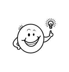male smiley face emoticon idea light bulb vector image