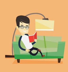 Man reading book on sofa vector