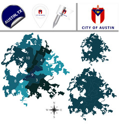 Map of austin tx with districts vector