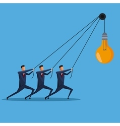 men business collaboration bulb idea creative vector image
