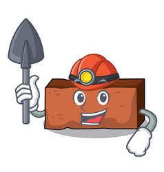miner brick mascot cartoon style vector image