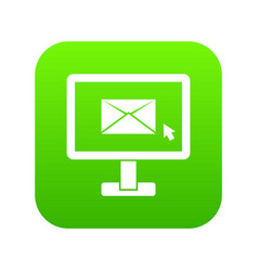 monitor with email sign icon digital green vector image