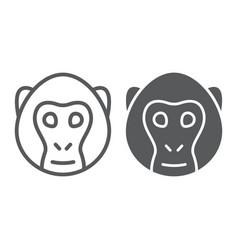 monkey line and glyph icon animal and zoo vector image