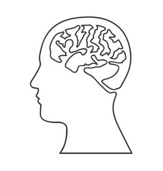Monochrome silhouette of human head with brain vector