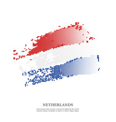 netherlands flag with halftone effect grunge vector image