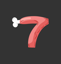 Number 7 meat pork and bone font seven ham vector