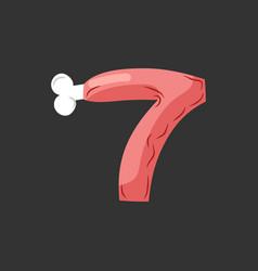 number 7 meat pork and bone font seven ham vector image
