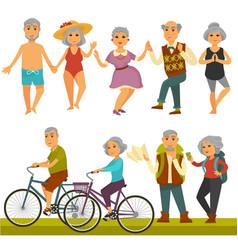 Older people fun leisure and sport activity life vector