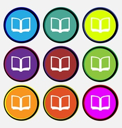 Open book icon sign Nine multi-colored round vector