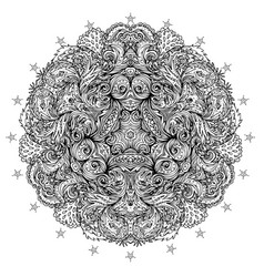 Ornamental mandala inspired ethnic art vector