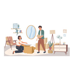 People relocating to new apartment flat vector