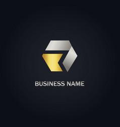 polygon shape gold company logo vector image