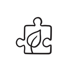 Puzzle with leaf sketch icon vector