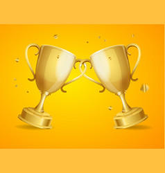 realistic detailed 3d two gold cups set vector image