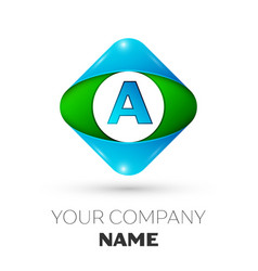 realistic letter a logo in colorful rhombus vector image