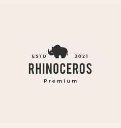 rhinoceros hipster vintage logo icon vector image