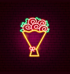 rose bouquet neon sign vector image