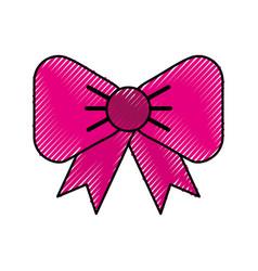 scribble fuchsia bow cartoon vector image