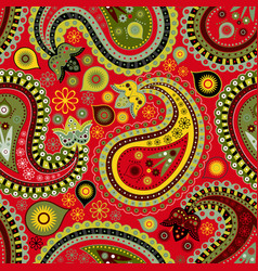 Seamless pattern with colorful paisley vector