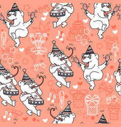 seamless pattern with cute bears in party vector image