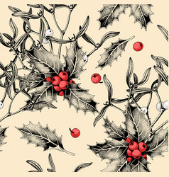 Seamless pattern with holly leaves and mistletoe vector