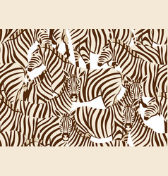 Seamless pattern with zebras vector