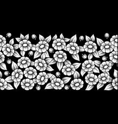 seamless white full floral brush vector image