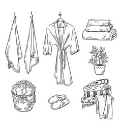 Set bathroom textile objects towels robe slippe vector