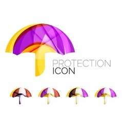 Set of abstract umbrella icons business logotype vector image