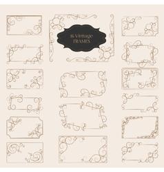 Set of art deco frame elegant border flourishes vector