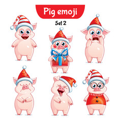 set of christmas pig characters set 2 vector image