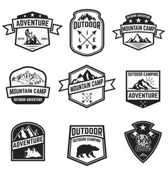 Set of hiking badges isolated on white background vector