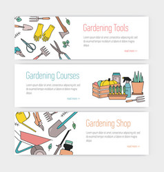 set of web banner templates with gardening tools vector image