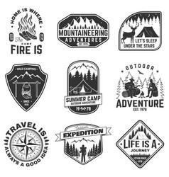 set outdoor adventure quotes symbol concept vector image