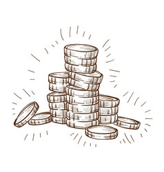 shiny coins stack isolated sketch metal cash vector image