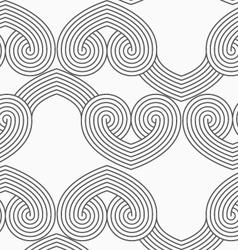 Slim gray hatched hearts in row vector