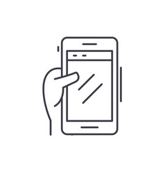 smartphone in hand line icon concept smartphone vector image